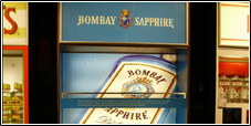 Bombay Sapphire Gin duty free stand for Manchester Airport